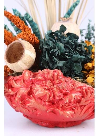 Kibrithane Çiçek Yapay Çiçek  Beton Saksı Kuru Çiçek Ortanca Aranjman Kc00200770 Renkli